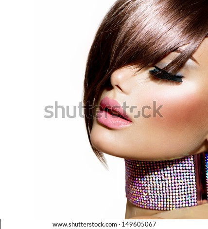 Hairstyle. Fringe. Haircut. Beauty Model Girl Portrait with Perfect Makeup. Healthy Smooth Skin. Make up. Accessories - stock photo
