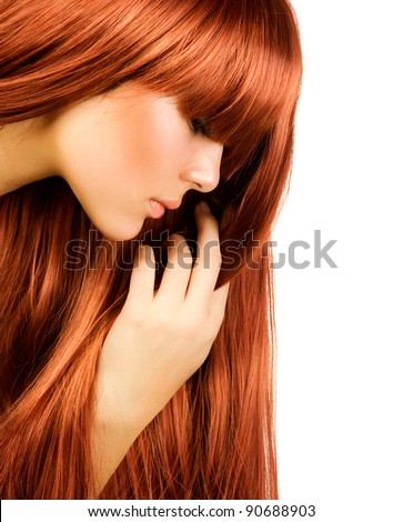 Hairstyle.Healthy Long Hair .Beautiful Girl portrait - stock photo