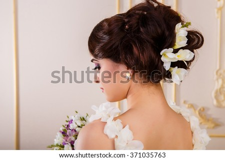 Hairstyle with accessories from the back - stock photo
