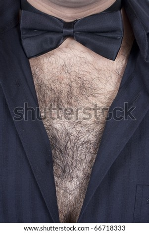 Hairy male chest - stock photo