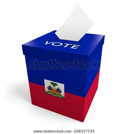 Haiti election ballot box for collecting votes - stock photo
