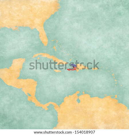Haiti (Haitian flag) on the map of Caribbean and Central America. The Map is in vintage summer style and sunny mood. The map has a grunge and vintage atmosphere, which acts as a watercolor painting.  - stock photo