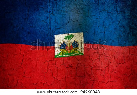 Haitian flag on a cracked grunge background - stock photo