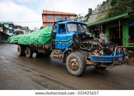 HAKHA, MYANMAR - JUNE 19 2015: Goods vehicle in the Hakha region in Chin State, Myanmar. - stock photo