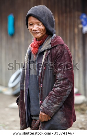 HAKHA, MYANMAR - JUNE 19 2015: Local man in the Hakha region in Chin State, Myanmar. - stock photo
