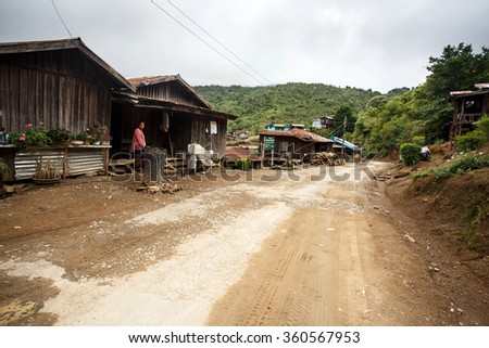 HAKHA, MYANMAR - JUNE 19 2015: Local village in the Hakha region in Chin State, Myanmar. - stock photo