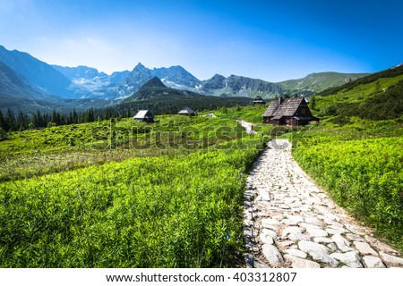 Hala Gasienicowa(Valey Gasienicowa) in Tatra mountains in Zakopane,Poland - stock photo