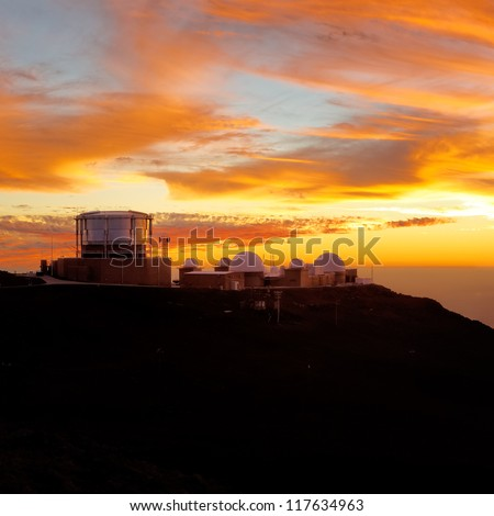 Haleakala crater at sunset, at Haleakala National Park, Maui, Hawai'i. - stock photo