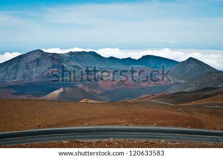 Haleakala crater in Maui, Hawaii - stock photo