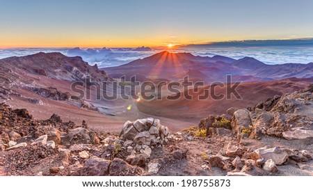 Haleakala Sunrise, Maui, Hawaii - stock photo