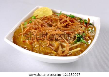 Haleem in White Dish-2 - stock photo
