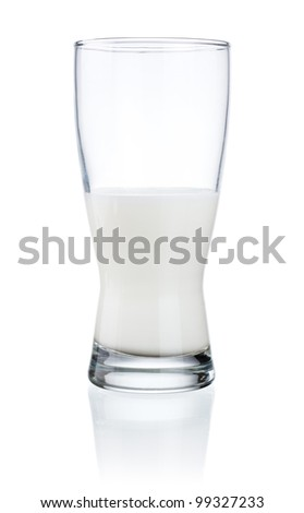 Half a glass of fresh milk isolated on a white background - stock photo