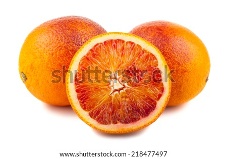 Half and full bloody red oranges isolated on white background - stock photo
