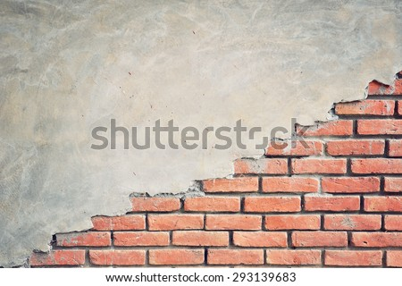Half and half of concrete and brick wall. Textured background. Vintage effect. - stock photo