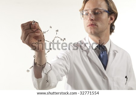 half body portrait of science professional at work - stock photo