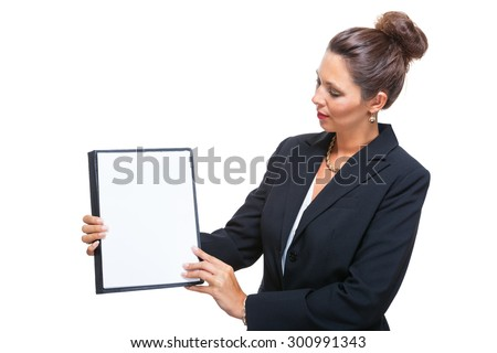 Half Body Shot of a Young Businesswoman Showing a Clean White Document with Copy Space, Isolated on White Background. - stock photo