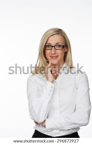 Half Body Shot of an Optimistic Young Businesswoman with Eyeglasses, Smiling at the Camera with Hand on her Face. Isolated on White Background. - stock photo