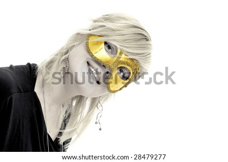 Half body view or lovely blond woman wearing golden mask. Isolated on white background, cutout (sepia portrait with colored mask). - stock photo