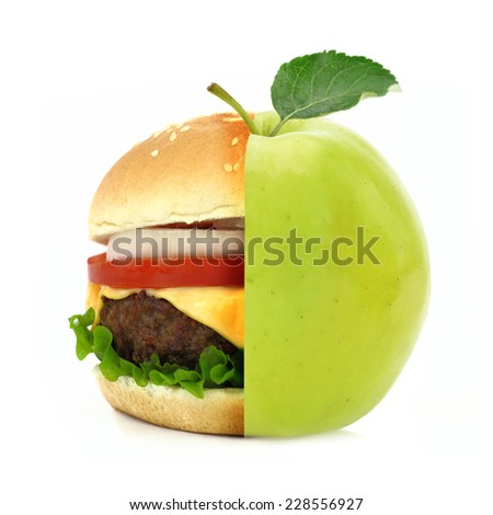 Half burger half apple concept isolated on white background  - stock photo