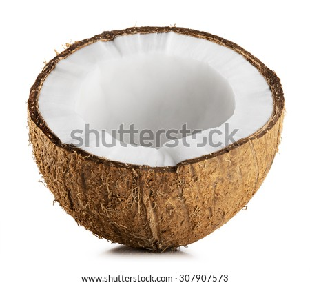 Half coconut isolated on a white Background - stock photo