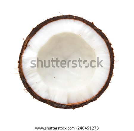 Half coconut top view isolated on white  - stock photo