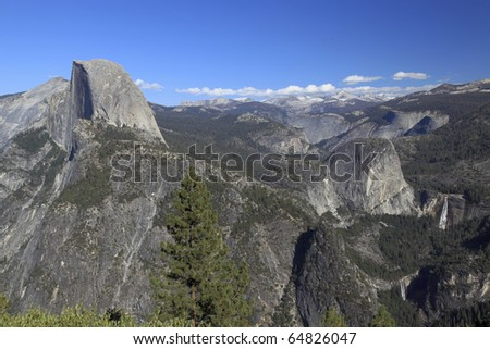 Half Dome, Nevada Falls and Vernal Falls from Glacier Point, Yosemite National Park - stock photo