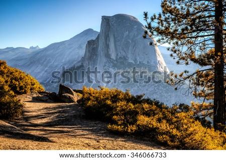 Half Dome Trail View, Yosemite National Park, California  - stock photo