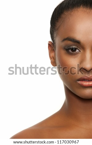 Half face American African beauty isolated on white background - stock photo