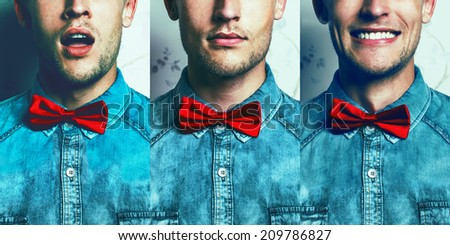 Half-face emotion portrait concept. Young and handsome hipster man in blue jeans shirt and red bow-tie over vintage background in three different emotions: surprise, muse, joy.Studio shot. Copy-space. - stock photo