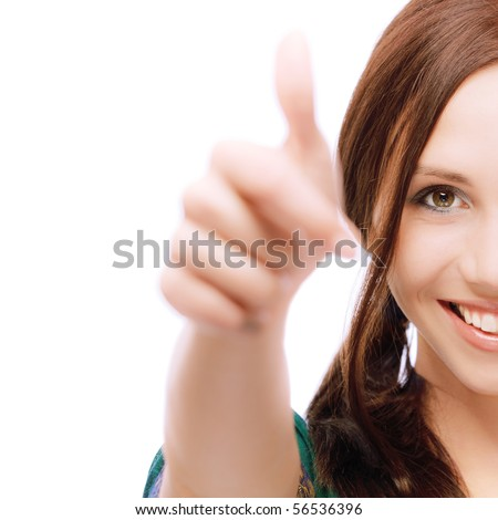Half face girl laughs and lifts up thumb, on white background. - stock photo
