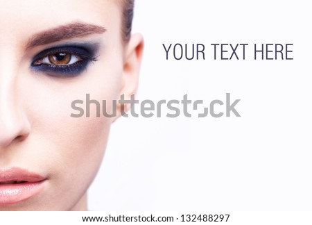 half face of beautiful fashoin young woman - stock photo