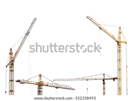 half frame from yellow hoisting cranes isolate on white background - stock photo
