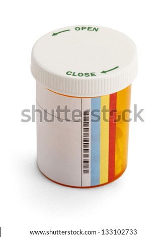 Half full rx medicine pill bottle with copy space isolated on a white background. - stock photo
