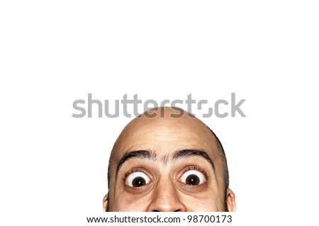 half funny face big eyes expression looking on white background - stock photo