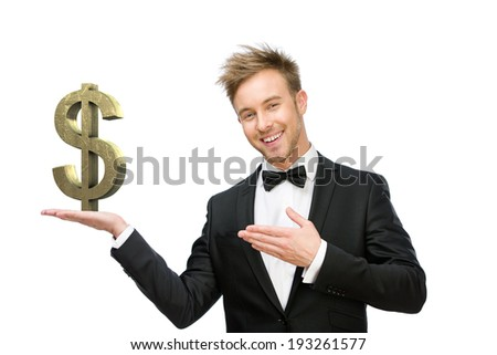 Half-length portrait of business man pointing at dollar sign, isolated on white. Concept of leadership and success - stock photo