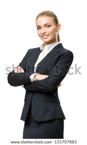 Half-length portrait of businesswoman with hands crossed, isolated on white. Concept of leadership and success - stock photo