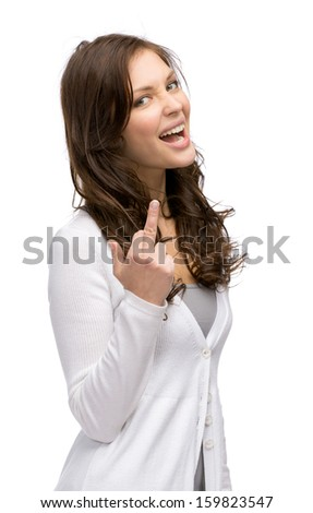 Half-length portrait of lady showing obscene gesture, isolated on white - stock photo