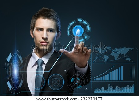 Half-length portrait of manager touching virtual screen. Technology concept - stock photo