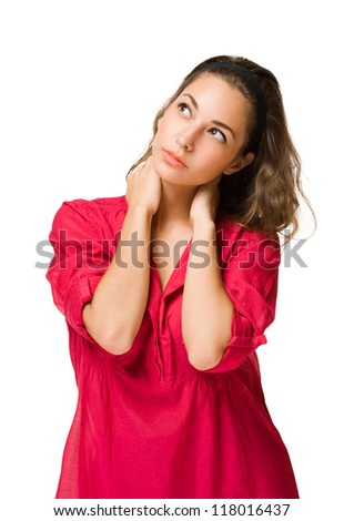 Half length portrait of pensive young brunette beauty. - stock photo