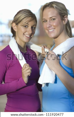 Half-length portrait of women in gym - stock photo