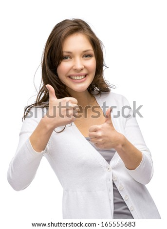Half-length portrait of young girl who thumbs up with both hands, isolated on white - stock photo