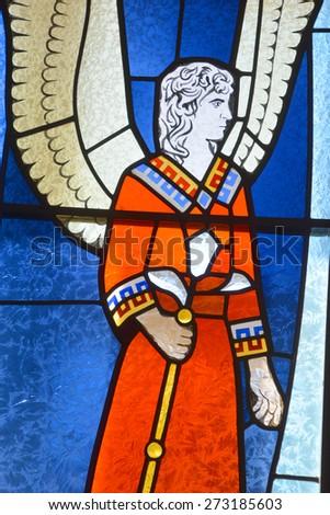 HALF MOON BAY CA USA APRIL 12: San Gabriel Arcangel Saint Gabriel The Archangel stained glass window in Our Lady of the Pillar Church on april 12 2015 in Half Moon Bay, CA,  - stock photo