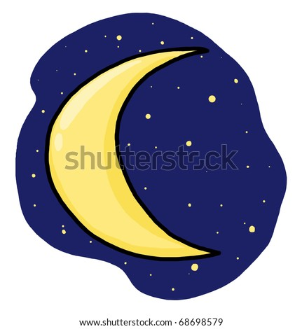 Half moon illustration; Crescent moon and stars freehand drawing - stock photo