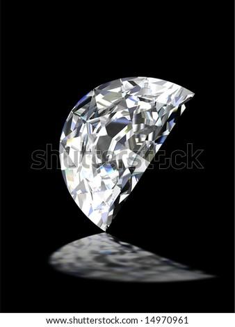 Half moon shape diamond on black - stock photo