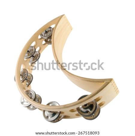 half moon tambourine in white background - stock photo