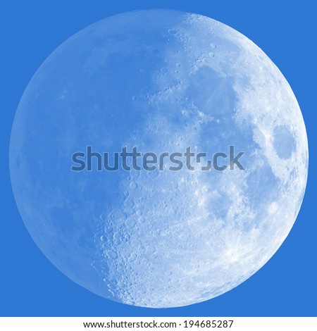 Half Moon with a shade on a 'darker side'. Sharp details on the surface. - stock photo