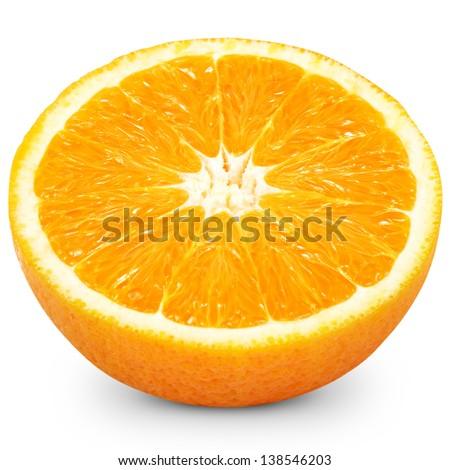 Half of a orange fruit isolated over white background  - stock photo