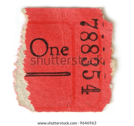 Half of a red ticket isolated on a white background. - stock photo