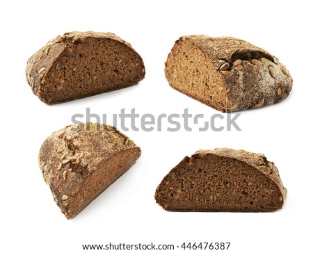 Half of a sunflower seed loaf of bread isolated over the white background, set of four different foreshortenings - stock photo
