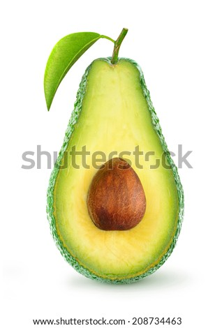 Half of avocado fruit isolated on white - stock photo